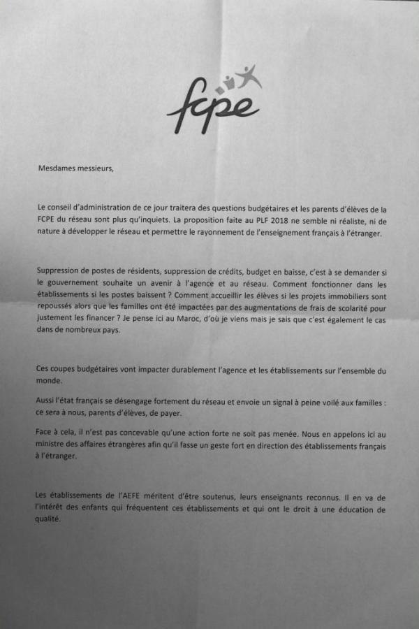 FCPE et AEFE 2017